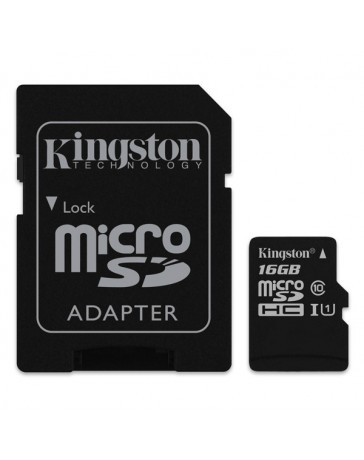 MICRO SDHC KINGSTON 16GB + ADAPTADOR CLASE 10