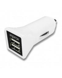 CARGADOR APPROX 2 USB MECHERO COCHE APPUSBCAR31W BLANCO
